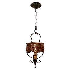 Spanish Revival Decorated Pendant Light Fixture