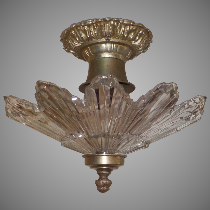 Art Deco Machine Age Gl And Metal Ceiling Light Fixtures 2 Available