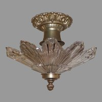 Art Deco Machine Age Glass and Metal Ceiling Light Fixtures - 2 available