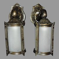 Tudor Cast Bronze Porch Lights with Frosted Glass Cylinders