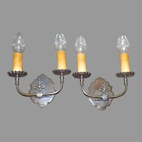 Neoclassical Brass Double Candle Wall Sconces