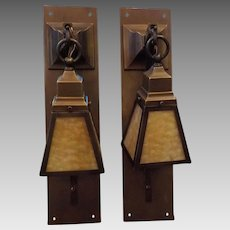 Arts and Crafts Tall Brass Sconces with Caramel Slag Glass Shades