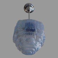 Art Deco Blue Ice Step Shade on Nickel Plate Swivel Pendant
