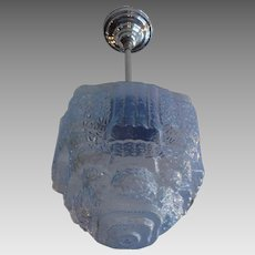 Art Deco Blue Ice Step Shade on Nickel Plate Swivel Pendant
