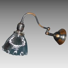 Early Electric Swing Arm Wall Sconce with Holophane Shade