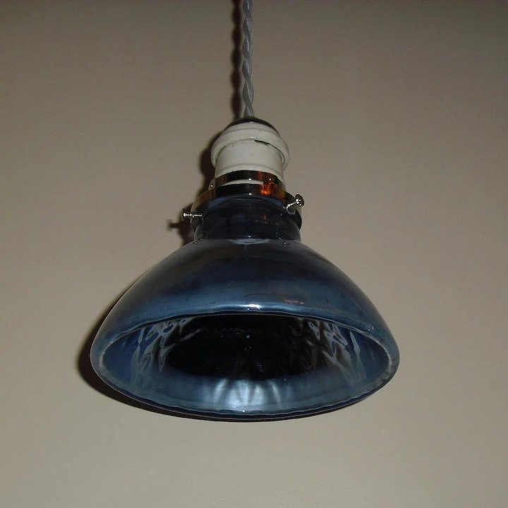 Blue Mercury Gl Pendant Light With Nickel Plated Fixture