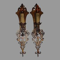 Large Spanish Revival Sconces with Polychrome Finish