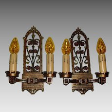 Spanish Revival  Iron Wall Sconces - with Polychrome Finish