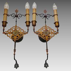 Large Spanish Revival Iron & Brass Wall Sconces with Polychrome Finish