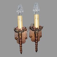Spanish Revival Single Candle Sconces with Polychrome Finish - 3 pair available