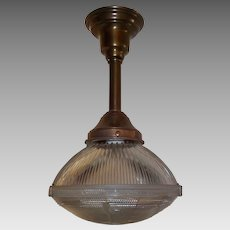 Holophane Clip Shade Pendant Light on Brass Fixture - 2 available