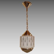 Art Deco Stylized 2 Piece Glass Shade in Original Nickel Plate Pendant