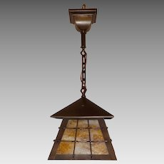 Arts & Crafts Brass with Caramel Slag Glass Pendant Light Fixture