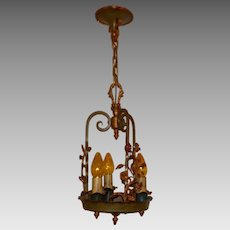 Spanish Revival Brass 3 Light Pendant