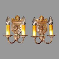 Tudor Cast Bronze Wall Sconces with Original Polychrome Finish