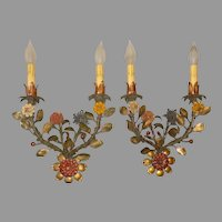 Vintage Italian Sconces - Original Polychrome Finish