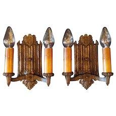 Gothic Cast Bronze Double Candle Sconces