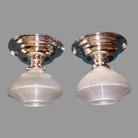 Pair - Holophane Glass Shades in Nickel Plate Ceiling Fixtures