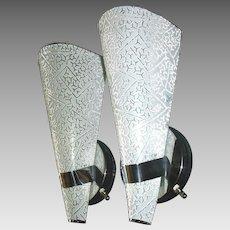 Virden Mid Century Modern Chrome Sconces w Textured Glass Shades