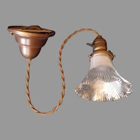 Holophane Pendant Light w Antique Brass Socket and Rim - 3 available