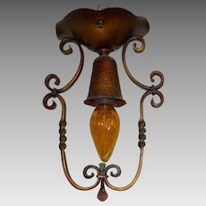 Spanish Revival Iron w Polychrome Finish Ceiling Light Fixture