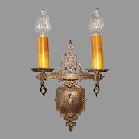 Set of 4 Tudor Cast Brass Double Candle Sconces