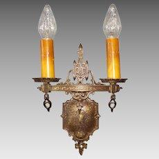 Set of 4 Tudor Cast Brass Double Candle Sconces