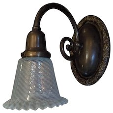 Large Cast Bronze Wall Sconce with Opalescent Glass Shade