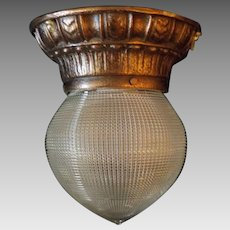 Holophane Glass Shade in Decorated Bronze Ceiling Fixture - Interior or Exterior