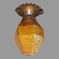 Spanish Revival Ceiling Light with Amber Crackle Glass Shade in Iron Fixture