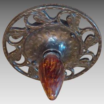 Cast Iron Flush Mount Ceiling Light with Vintage Bulb