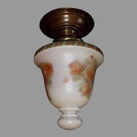 Decorated Glass Shade in Brass Ceiling Fixture