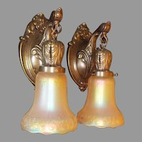Lightolier Cast Brass Sconces with Lightolier Carnival Glass Shades