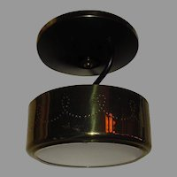 Mid Century Modern Metal with Spatter Glass Ceiling Light Fixture