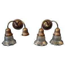 Bradley & Hubbard Brass Double Arm Sconces with Cut & Frosted Glass Shades