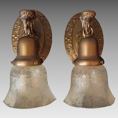 Decorated Brass Sconces with Etched Glass Shades - 2 pair available