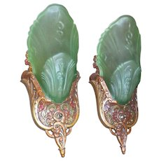 Markel Art Deco Slip Shade Wall Sconces - Frosted Green Glass Shades