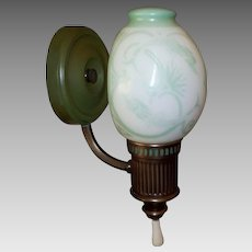 Pair - Lightolier Wall Sconces with Sea Serpent Glass Shades