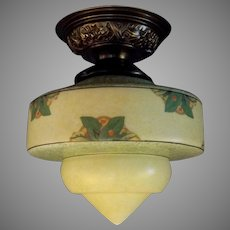 Ceiling Light - Consolidated Glass Shade in Decorated Brass Fixture