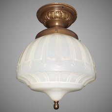 Ceiling Light - Embosses Camphor Glass Shade in Brass Fixture