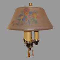 Lightolier 3 Light Pendant with Decorated Glass Shade