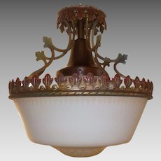 Spanish Revival Ceiling Light - Iron and Copper Fixture with Acid Etched Shade