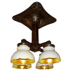 Art Nouveau Railroad Ceiling Fixture with Steuben Art Glass Shades