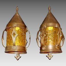 Tudor Copper and Bronze Porch Lights with Amber Crackle Glass Cylinders
