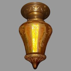 Amber Iridescent Acid Etched Glass Shade on Decorated Brass Fixture