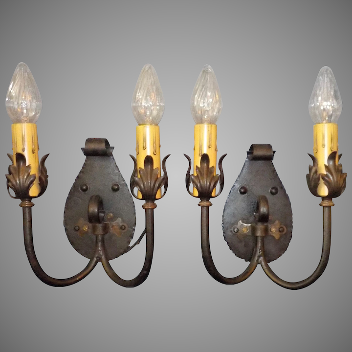 separation shoes aca01 1a999 Set of 4 Spanish Colonial / Revival Iron Double Candle Wall Sconces