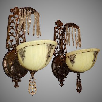 Rare Art Deco Gill Bronze Sconces With Crystal Waterfall