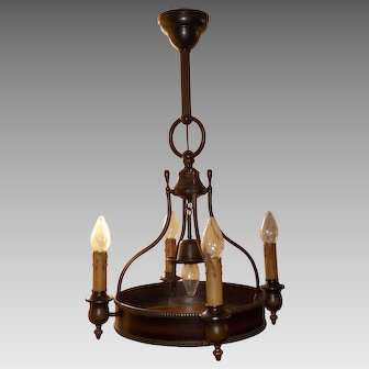Brass 5 Light Chandelier with Mica Panel Base