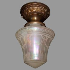 Ceiling Light with Iridescent Acid Etched Glass Shade on Decorated Brass Fixture