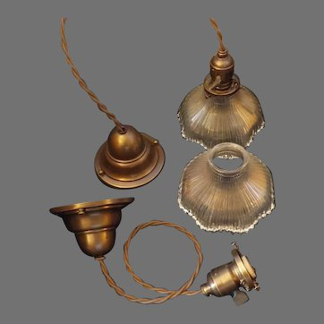 Franklin Glass Pendant Light with Brass Fixtures - Pair.